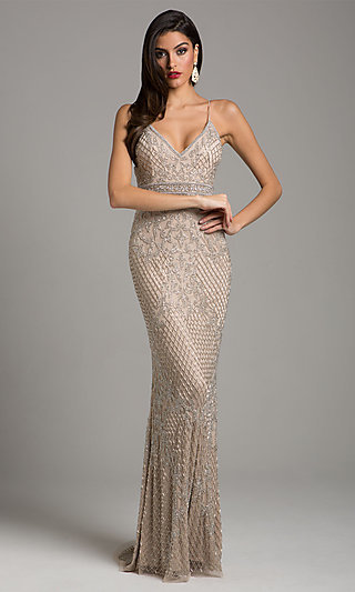 Long Empire-Waist Beaded V-Neck Prom Dress