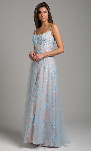 Long A-Line Embroidered Sleeveless Prom Dress