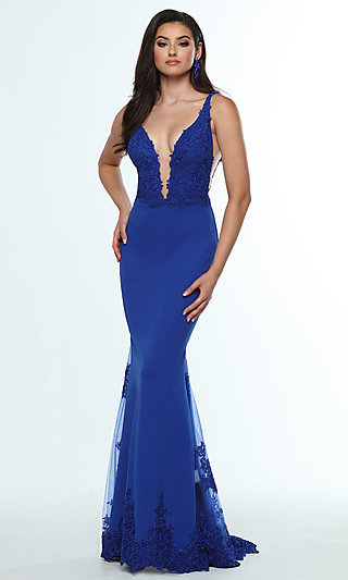 Long V-Neck Prom Dress with Embroidered Details