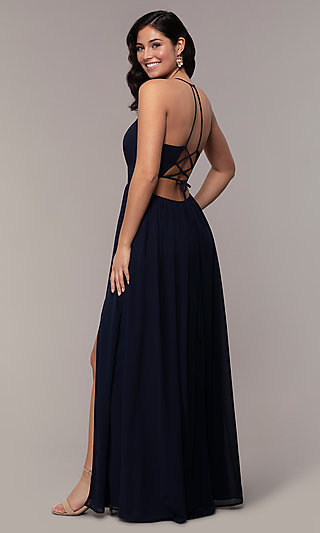 Long V-Neck Corset-Back Prom Dress by Simply