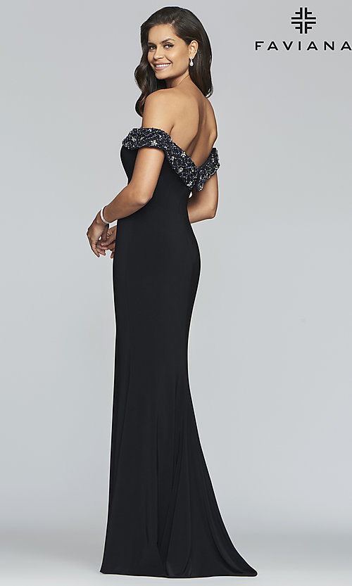 Image of long sweetheart prom dress with beaded neckline. Style: FA-S10202 Back Image