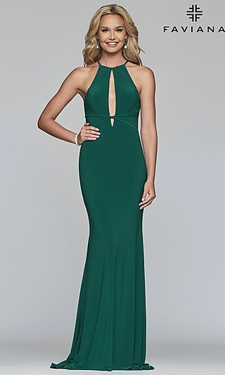 Long Racerback Prom Dress with Cut-Outs