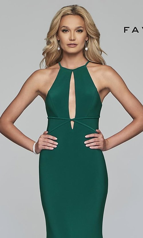 Image of forest green Faviana long prom dress with cut outs. Style: FA-S10207 Detail Image 1
