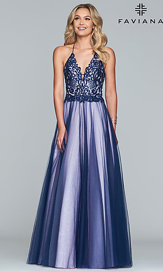 Long Two-Tone V-Neck Ballgown-Style Prom Dress