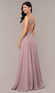 Image of long v-neck lace-bodice prom dress by PromGirl. Style: DQ-PL-2777 Detail Image 5