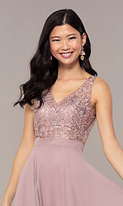 Image of long v-neck lace-bodice prom dress by PromGirl. Style: DQ-PL-2777 Detail Image 6