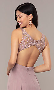 Image of long v-neck lace-bodice prom dress by PromGirl. Style: DQ-PL-2777 Detail Image 7