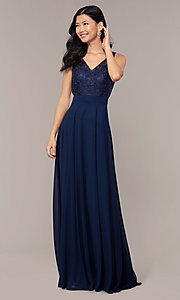 Image of long v-neck lace-bodice prom dress by PromGirl. Style: DQ-PL-2777 Detail Image 3