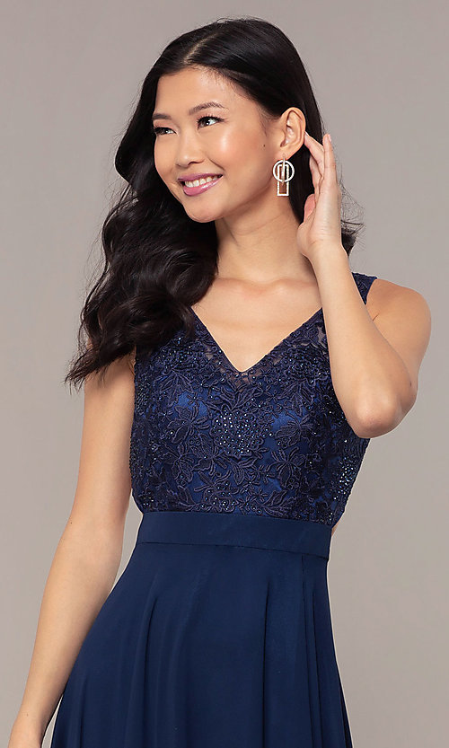 Image of long v-neck lace-bodice prom dress by PromGirl. Style: DQ-PL-2777 Detail Image 1