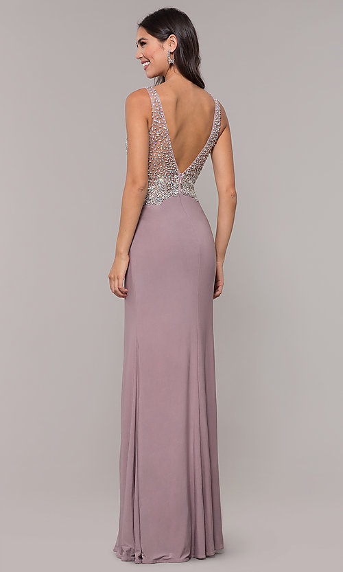 Image of long v-neck mocha prom dress by PromGirl. Style: DQ-PL-2813 Back Image