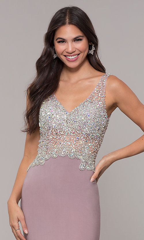 Image of long v-neck mocha prom dress by PromGirl. Style: DQ-PL-2813 Detail Image 1