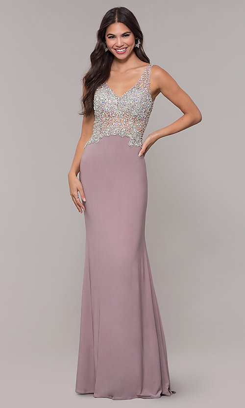 Image of long v-neck mocha prom dress by PromGirl. Style: DQ-PL-2813 Detail Image 3