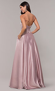 Image of long mocha satin prom dress by PromGirl. Style: DQ-PL-2822 Back Image