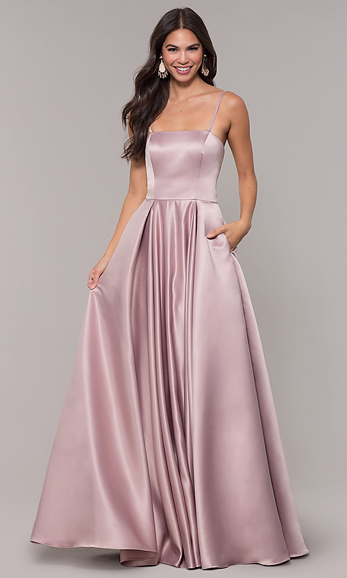 Image of long mocha satin prom dress by PromGirl. Style: DQ-PL-2822 Detail Image 3