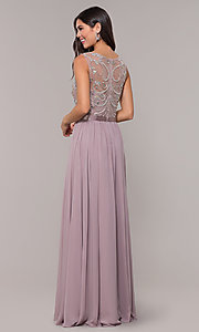 Image of long scoop-neck mocha prom dress by PromGirl. Style: DQ-PL-2810 Back Image