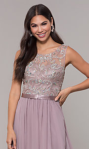 Image of long scoop-neck mocha prom dress by PromGirl. Style: DQ-PL-2810 Detail Image 1