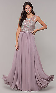 Image of long scoop-neck mocha prom dress by PromGirl. Style: DQ-PL-2810 Detail Image 3