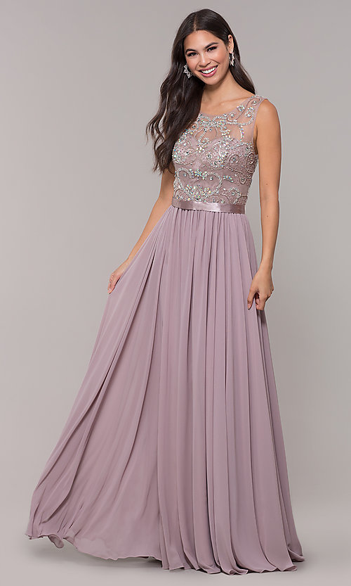 Image of long scoop-neck mocha prom dress by PromGirl. Style: DQ-PL-2810 Front Image