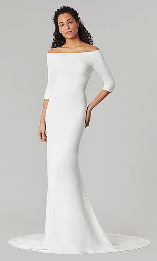 Long White Formal Wedding Dress with Sleeves