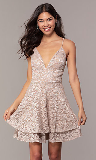 Cut-Out Open-Back Lace V-Neck Grad Party Dress