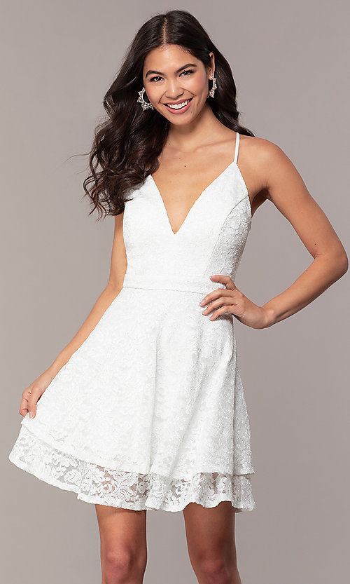Image of racerback white glitter-lace short party dress. Style: EM-FQP-3473-100 Front Image