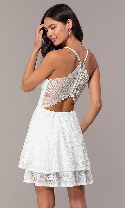 Image of racerback white glitter-lace short party dress. Style: EM-FQP-3473-100 Back Image