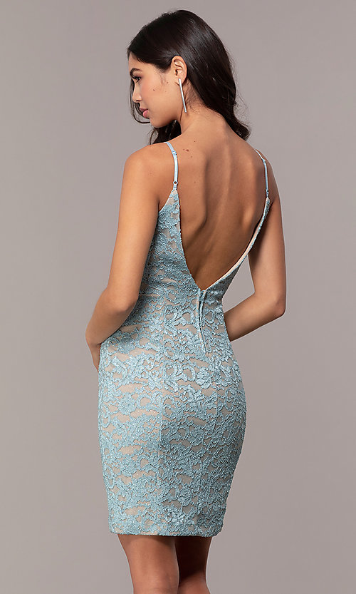 Image of aqua blue short glitter-lace wedding-guest dress. Style: EM-FXH-4019-450 Back Image