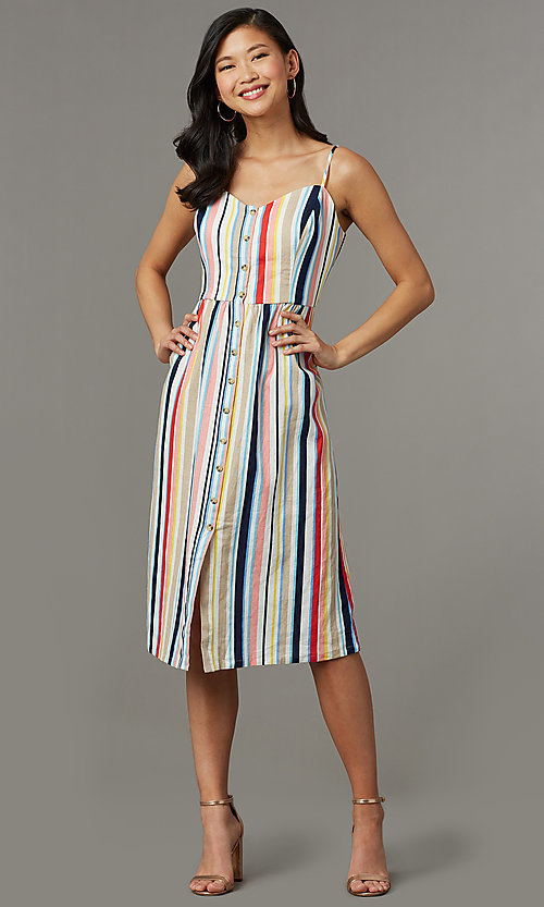 Image of striped casual cruise dress with adjustable straps. Style: EM-HGV-4062-195 Front Image