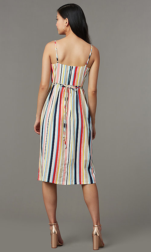 Image of striped casual cruise dress with adjustable straps. Style: EM-HGV-4062-195 Back Image