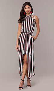 Image of long striped sleeveless party dress with pockets. Style: EM-FVA-4033-096 Detail Image 3