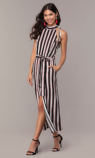 Long Striped Sleeveless Party Dress with Pockets