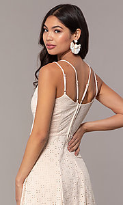 Image of short eyelet v-neck graduation dress in blush pink. Style: EM-FLU-3760-690 Detail Image 2