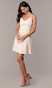 Image of short eyelet v-neck graduation dress in blush pink. Style: EM-FLU-3760-690 Detail Image 3