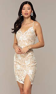 Image of embroidered v-neck ivory nude lace party dress. Style: EM-FWR-3814-083 Front Image