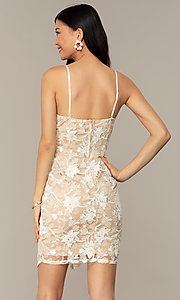 Image of embroidered v-neck ivory nude lace party dress. Style: EM-FWR-3814-083 Back Image