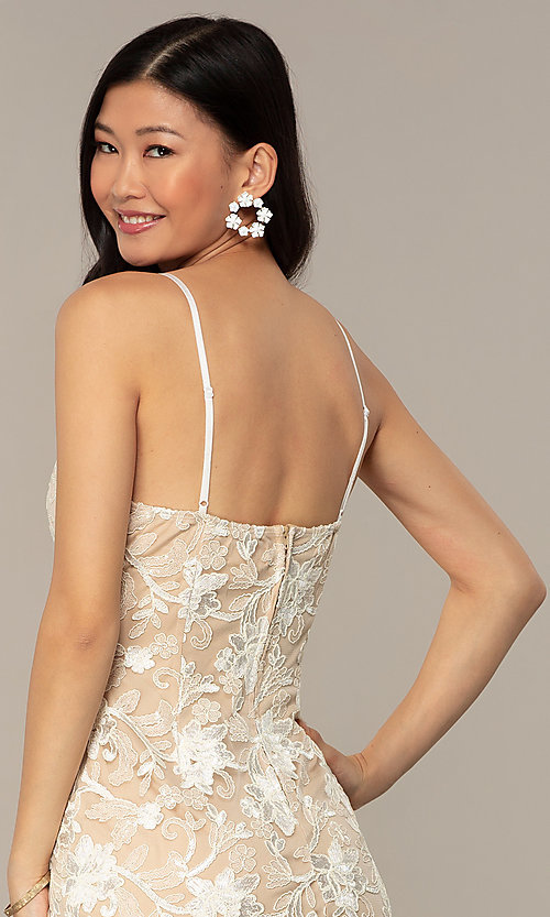 Image of embroidered v-neck ivory nude lace party dress. Style: EM-FWR-3814-083 Detail Image 2