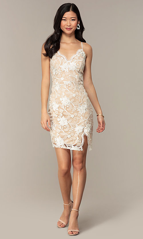 Image of embroidered v-neck ivory nude lace party dress. Style: EM-FWR-3814-083 Detail Image 3