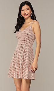 Image of short sequin homecoming party dress in peach. Style: EM-FLU-4114-850 Front Image