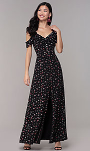 Image of long black floral-print wedding-guest maxi dress. Style: EM-CSR-4068-002 Detail Image 3