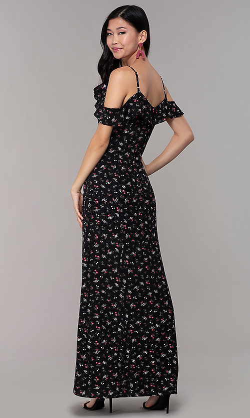Image of long black floral-print wedding-guest maxi dress. Style: EM-CSR-4068-002 Back Image