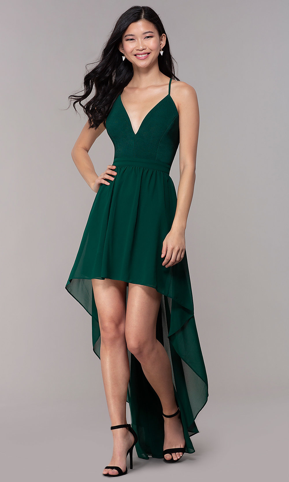 High Low Green Wedding Guest Dress Promgirl,Casual Plus Size Wedding Dresses With Color