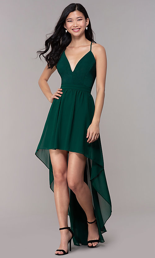 Image of high-low hunter green wedding-guest party dress. Style: EM-FWT-1027-304 Front Image