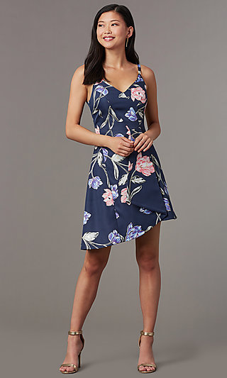 Short High-Low Floral Print Party Dress