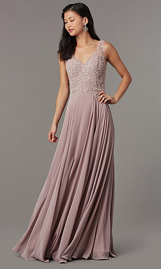 Long Embellished-Bodice Prom Dress by PromGirl