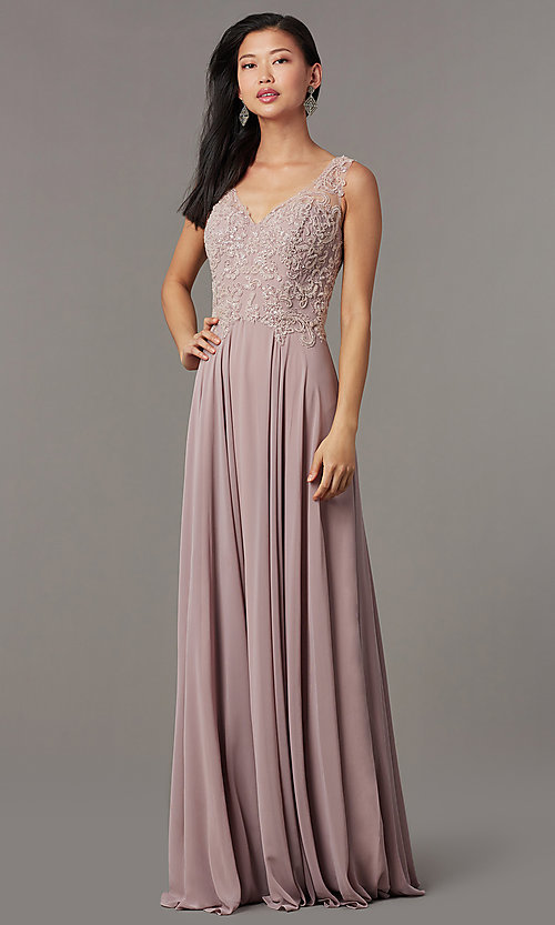 Image of long embellished-bodice prom dress by PromGirl. Style: FB-PL-GL9003 Detail Image 1