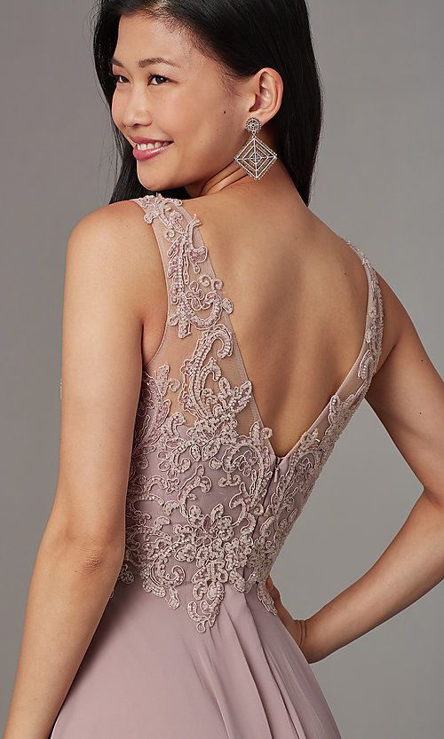 Image of long embellished-bodice prom dress by PromGirl. Style: FB-PL-GL9003 Detail Image 2