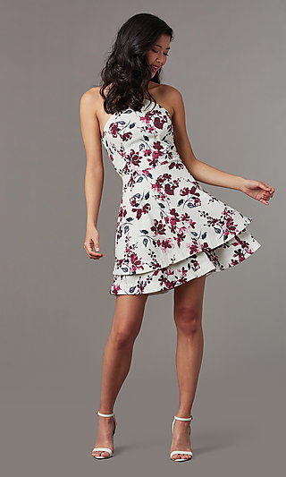 Short Floral Print Graduation Dress with Tiered Skirt