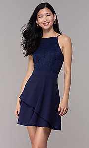 Image of short lace-bodice wedding-guest dress in navy blue. Style: SS-D72973H910 Front Image