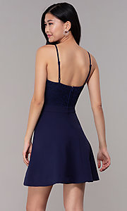 Image of short lace-bodice wedding-guest dress in navy blue. Style: SS-D72973H910 Back Image