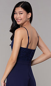 Image of short lace-bodice wedding-guest dress in navy blue. Style: SS-D72973H910 Detail Image 2